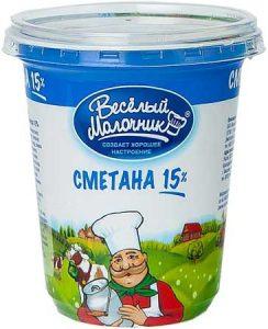Сметана 15% 330 гр. ТМ Веселый молочник