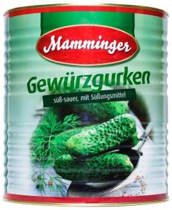 Огурцы корнишоны маринованные ж/б 4,25 л. ТМ MAMMINGER  Германия