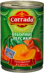 Персики консервированные половинки в сиропе ж/б ТМ Corrado, 850 гр.