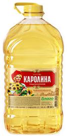 Масло подсолнечное рафинированное дез. 5 л.ТМ Каролина