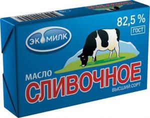 Масло сливочное 82.5% 450 гр. ТМ Экомилк