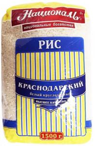 Рис круглозерный Краснодарский 1.5 кг. ТМ Националь