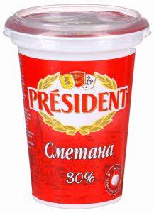 Сметана 30% 350 гр. ТМ Президент