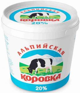 Сметанный продукт 20% 0.9 кг. ТМ Альпийская коровка